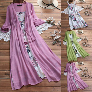 Women-Plus-Size-3-4-Sleeve-O-Neck-Floral-Printed-Lace-Two-piece-Maxi-Long-Dress