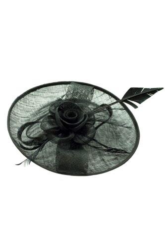 Grandes Dames Day races Royal Ascot Serre-tête Clip Noir Fascinator Mariage Chapeau UK