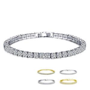 Gold-Silver-Single-Double-Three-Row-Zircon-Crystal-Bracelet-Wedding-Jewelry-Gift