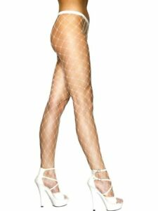 d3fbd83dc3669 Ladies 80s 1980s Fishnet Tights Diamond Net Fancy Dress White New by ...