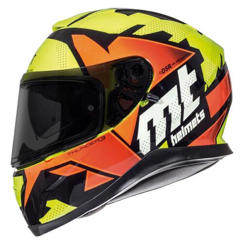 Mt Thunder 3 Déchiré Casque Moto Orange Moto Couvercle Daccident
