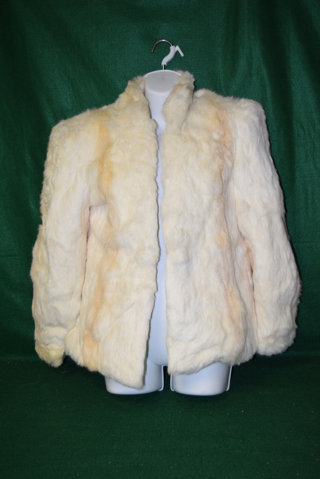 Vintage White with Tan Streaks - Rabbit Fur Coat - Size Small