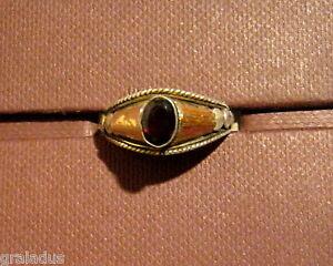 Ring-925er-Silber-mit-teilw-18-Kt-Goldauflage-mit-Edelstein-Granat