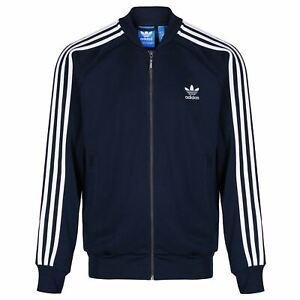 Detalhes sobre Adidas Originaux HOMME Superstar Veste de Survêtement Marine Rétro Trèfle Neuf