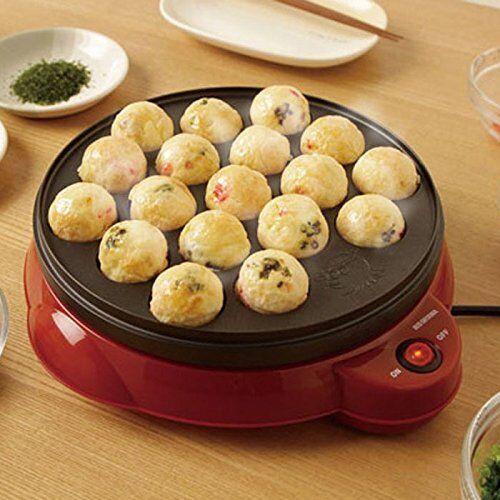 IRIS OHYAMA Takoyaki Maker Hot Plate Red 18 Holes Small Pancake ITY-18A-R Japan