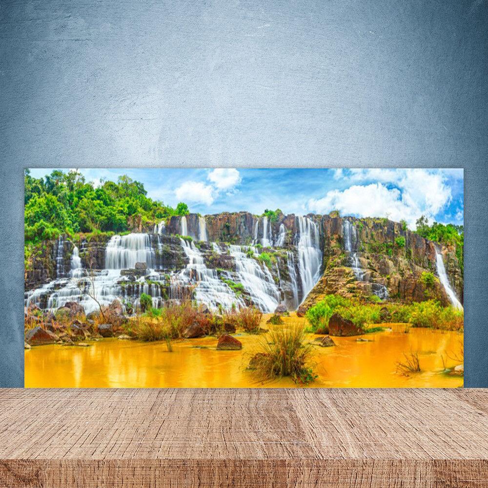 Crédence de cuisine en verre Panneau Paroi 100x50 Nature Chute D'eau