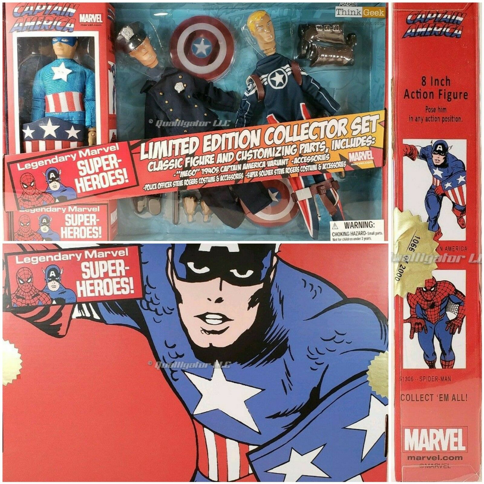 New Captain America édition limitée collector jeu Rétro Marvel 8  3 Figures new in box
