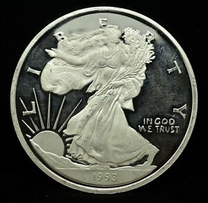 1993-LADY-LIBERTY-EAGLE-PROOF-8-TROY-OZ-999-SILVER-ROUND