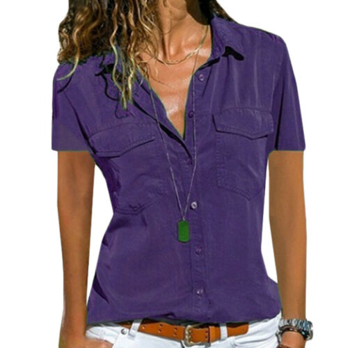 Damen Sommer V-Ausschnitt Bluse Shirt Tops Freizeithemd Kurzarm Hemden Hemdbluse