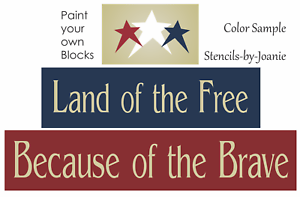 Stencil Trio Land Of Free Because Brave Stars Country Patriotic Sign Art Blocks Ebay