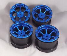 "GPM Blue Aluminum 2.2"" Beadlock Wheels for Axial Traxxas Losi HPI Crawler"