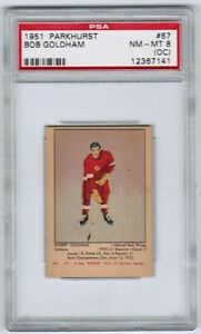 1951-52-Parkhurst-67-Bob-Goldham-Rookie-Rc-PSA-8-oc-NM-MT-Red-Wings