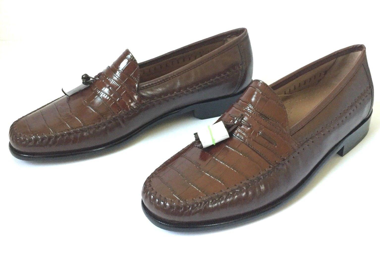 Florsheim Pisa Leather Croc Embossed Tassel Loafers - Men's Größe 11D - Cognac