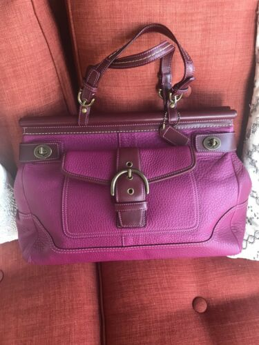 Vintage COACH Soft Pebbled Turnlock Satchel Bag Pi