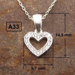 925 real plata colgante corazón amor cadena halzkette elegibles a25-a33