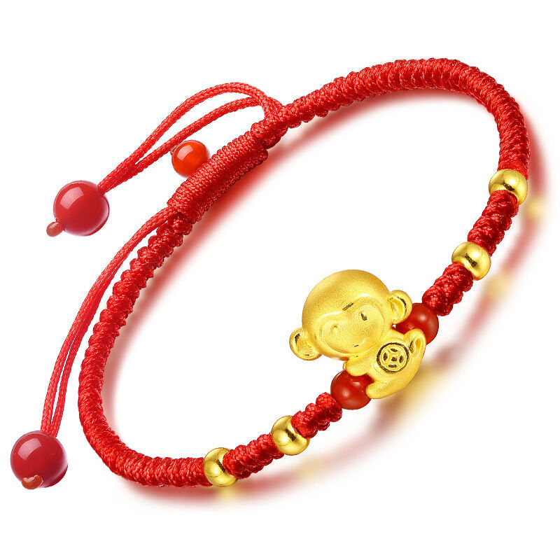 Authentic 24k Yellow gold Monkey with Bead Knitted Bracelet 16.5cm Length