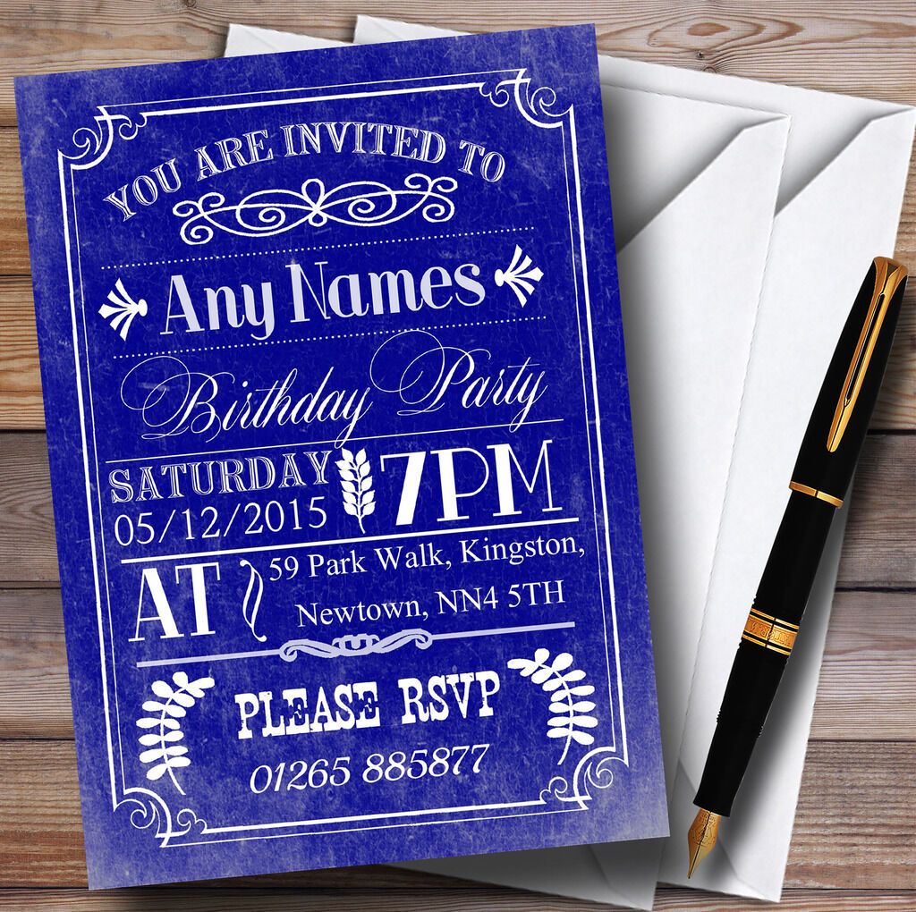 Vintage Retro Blau Personalised Birthday Party Invitations