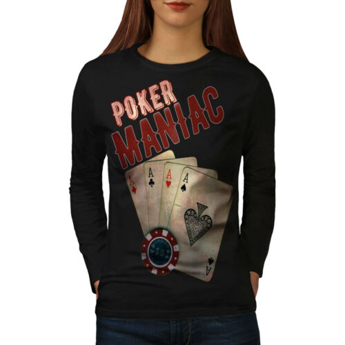 Wellcoda Poker Game Maniac Womens Long Sleeve T-shirt Las Vegas Casual Design