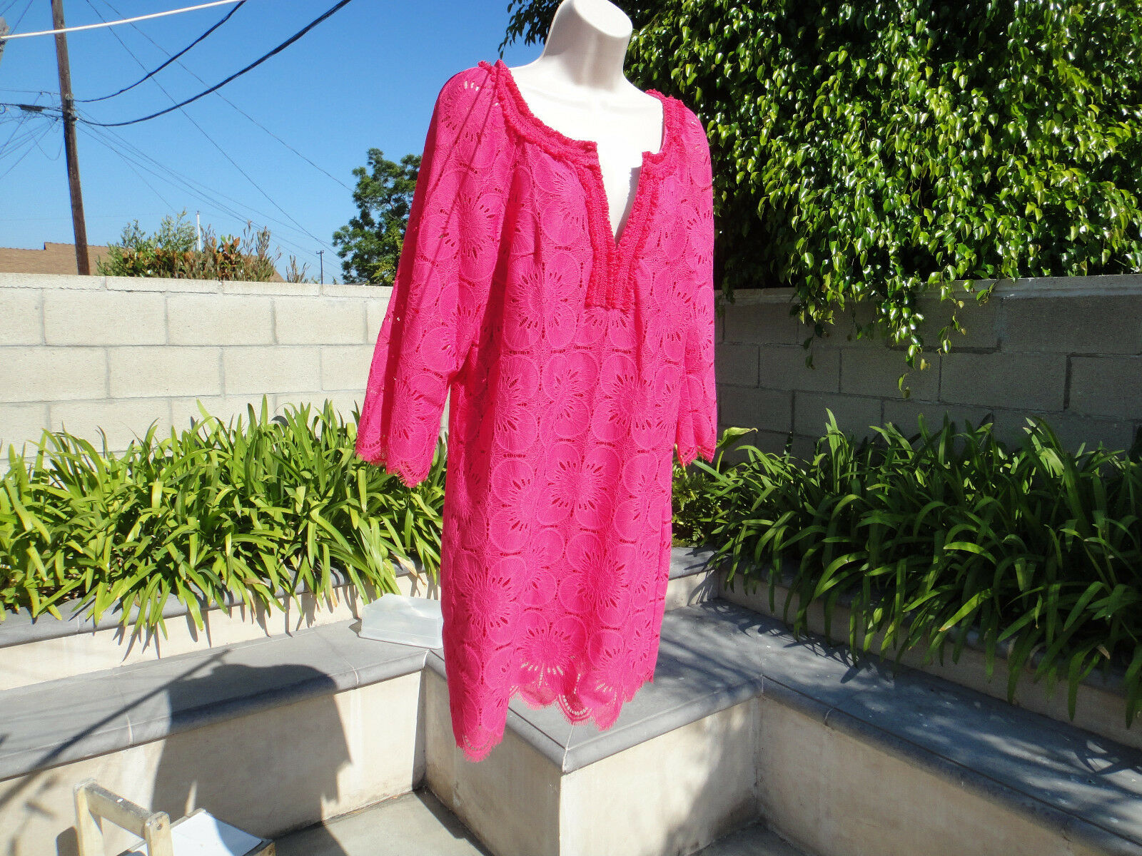 Trina Turk JUBILEE LACE SHIFT DRESS, Cerise Lace Overlay Lined Lined Lined MSRP 378, Sz 10 f87435