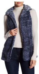 Poof-Women-039-s-Blue-Frosted-Sleeveless-Fleece-Plush-Vest