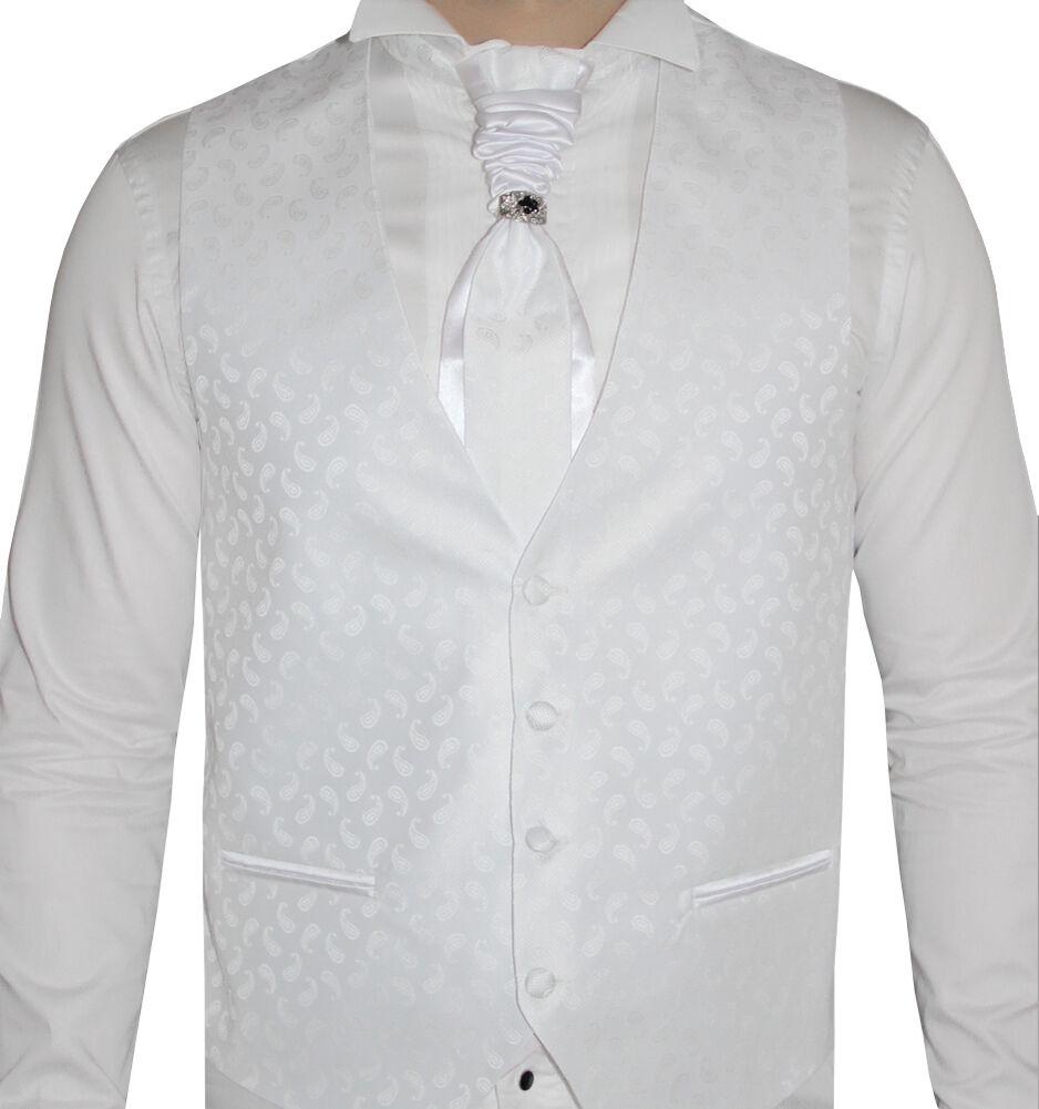 Herren Hochzeitsweste Weiß Paisley -5 teilig- Designer Weste-Größe S-7XL W06