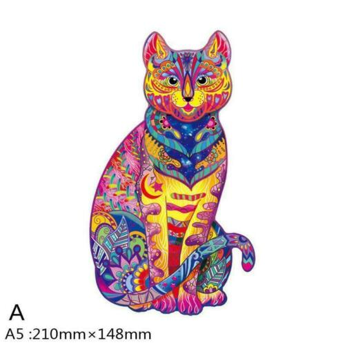 Wooden Jigsaw Puzzle Cat Unique Animal Pieces Gift Toys For Kids Adults B0X6