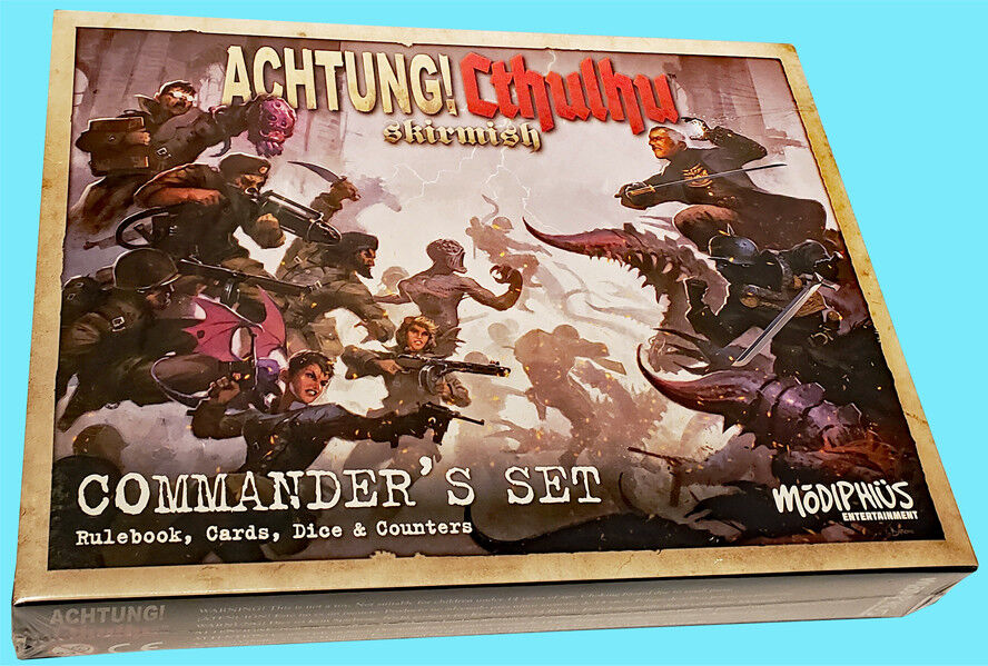 ACHTUNG CTHULHU SKIRMISH COMMANDER'S SET Rulebook Cards Dice Counters NEW SEALED