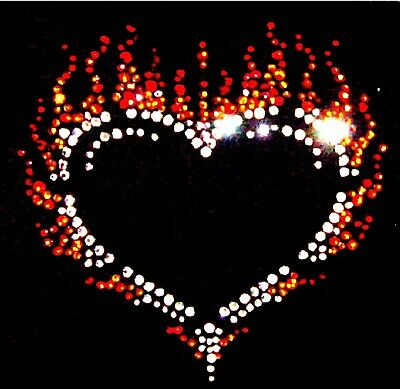 PINK FLAME HEART Crystal Rhinestone Iron On T Shirt Motif Design