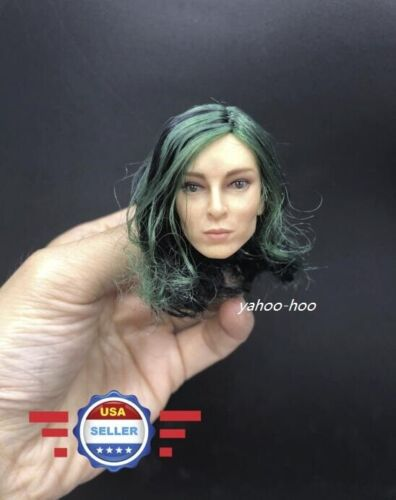 1//6 scale Female Head Sculpt w// Green Curly Hair for 12/'/' Figure Body Doll