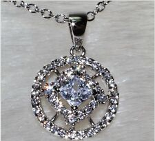 18K White Gold Filled AAA CZ Women Necklace Round Pendant Fashion Jewelry P3135