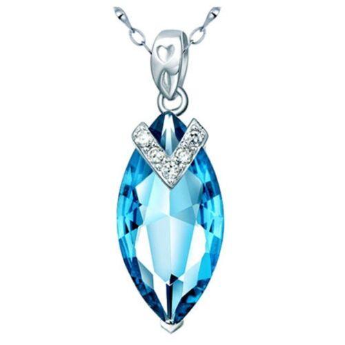 """Love /& coeurs topaze bleue Pendentif 18/"""" Collier /& Boucle D/'Oreille Set Argent Sterling .925"""