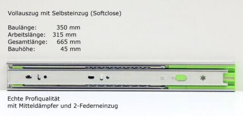 Schubladenschienen Teleskopauszüge Selbsteinzug Dämpfer Vollauszug 45 mm 350 mm