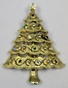 8c4b25cbb Image is loading Rhinestone-Christmas-Tree-Vintage-Brooch-Pin-Signed-JJ-