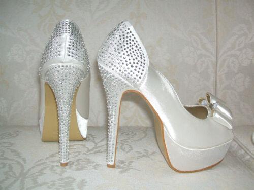 4 boda 3 5 cream satin zapatos peep para tamaño 6 7 de 5 novia toe