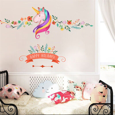 Unicorn Wall Sticker For Kids Room Girls Bedroom Wall Decal Home Decor |  eBay