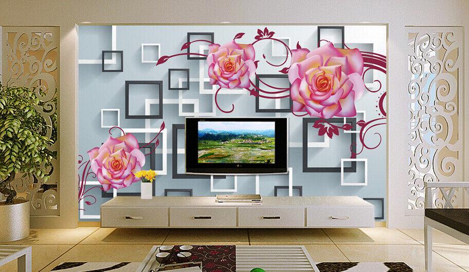 3D Grid Flowers 667 Wallpaper Murals Wall Print Wallpaper Mural AJ WALL AU Kyra
