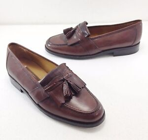 Johnston & Murphy Handcrafted 10.5 M Brown Leather Tassel Dress Casual Loafers