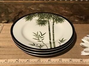 3-Asian-Porcelain-Satsuma-Plates-Bamboo-Black-amp-Gold-Decorative-Edge-6-1-4-034