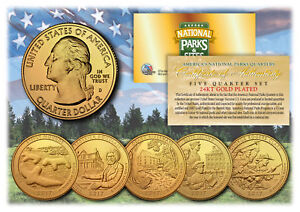 2017-America-The-Beautiful-24K-GOLD-PLATED-Quarters-Parks-5-Coin-Set-w-Capsules