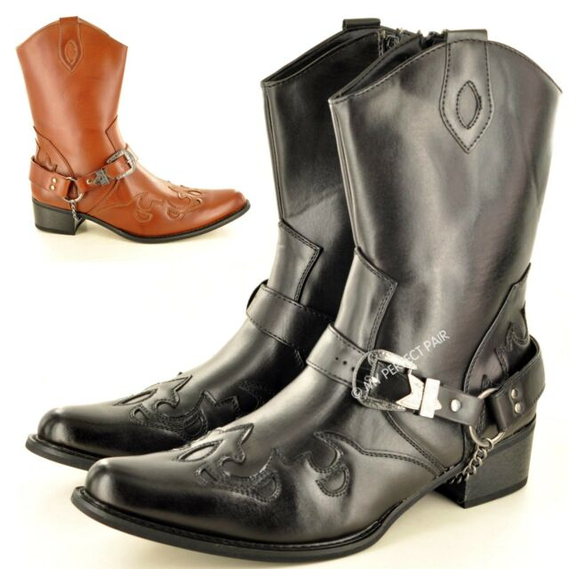 Herren Western Cowboy Knöchel Reißverschluss Schwarz Stiefel Eu Größe 7 8 9 10