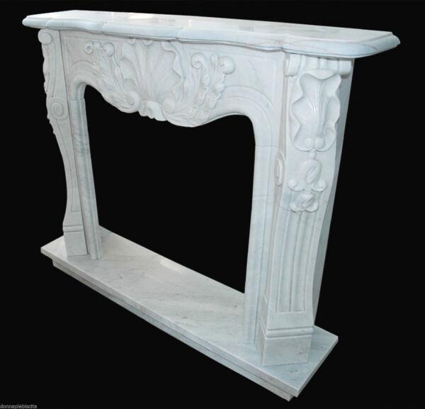 Camino Marmo Bianco Luigi Xv Marble Fireplace Handmade Vintage Interior Design