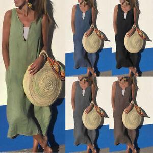 Ladies-Women-Casual-V-Neck-Sleeveless-Solid-Pocket-Cotton-Linen-Beach-Long-Dress