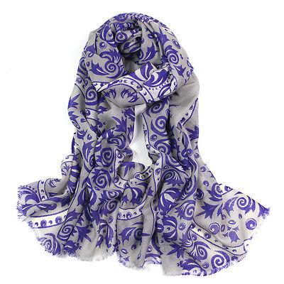 100% Pura Lana Woman's Pashmina Soft Wrap Stola Sciarpa Grigio & Porpora Ukseller- E Avere Una Lunga Vita