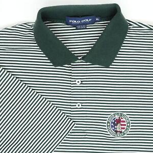 Polo-Golf-Men-XL-49-2005-U-S-Open-Pinehurst-No-2-Polo-Shirt-Stripe-Green-White