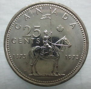 1973 CANADA 25 CENTS RCMP MOUNTIE BRILLIANT UNCIRCULATED QUARTER COIN