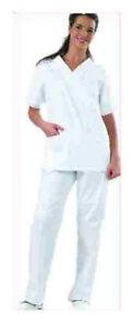 Casacca-Chiusa-Camice-corto-scollo-a-v-BIANCO-X-infermiere-Fisioterapista-OSS