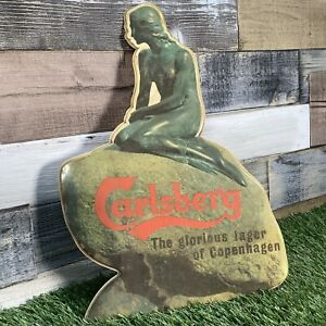 Rare-VTG-Carlsberg-Mermaid-Pub-Show-Card-Circa-1960s-Retro-Sign-Man-Cave-Bar