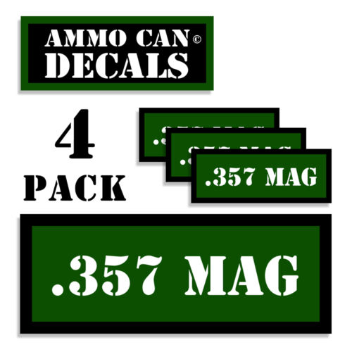 357 MAG Ammo Can 4x Labels Ammunition Case stickers decals 4 pack GR 3x1.15