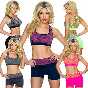 d93163dc15317 Ladies Set Functional Sports Bra Top Shorts S 32 34 36 Fitness Hot ...