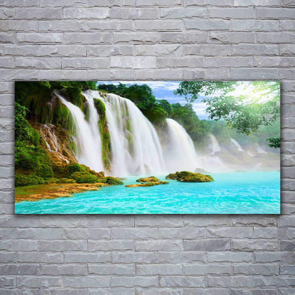 Acrylglasbilder Wandbilder Druck 120x60 Wasserfall See Natur